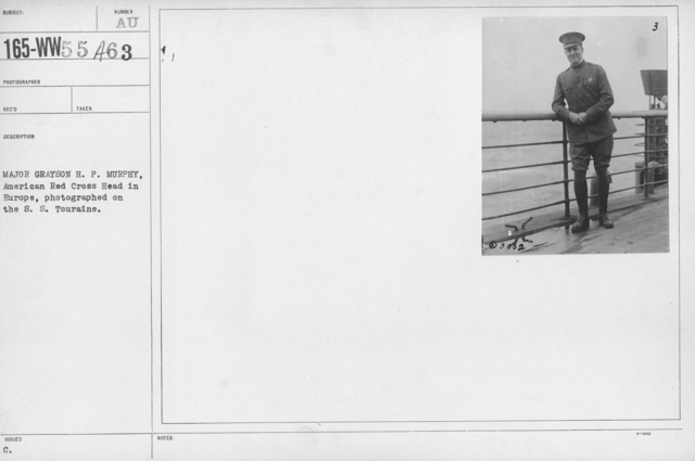 American Red Cross - I thru M - Major Grayson H.P. Murphy, American Red Cross Head in Europe, photographed on the S.S. Touraine