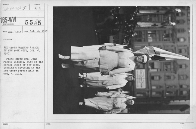 American Red Cross - I thru M - Red Cross Workers Parade in New York City, Oct. 4, 1917. Photo shows Mrs. John Purroy Mitchel, wife of the former Mayor of New York, leading a division in the Red Cross parade held on Oct. 4, 1917