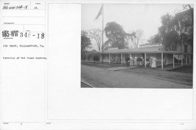 American Red Cross - In the Service of Interior - Canteen Service - Red Cross, Williamsport, PA. Exterior of Red Cross Canteen