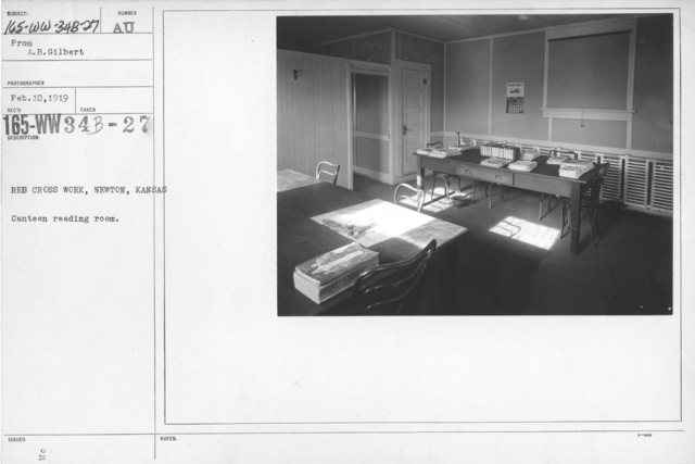 American Red Cross - In the Service of Interior - Canteen Service - Red Cross Work, Newton, Kansas. Canteen reading room