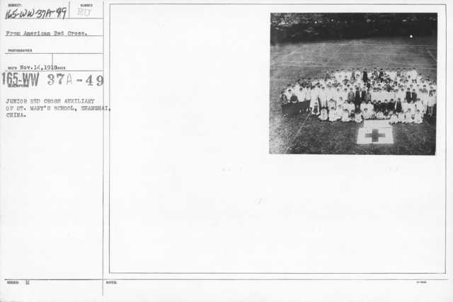 American Red Cross - Junior Red Cross - Junior Red Cross Auxiliary of St. Mary's School, Shanghai, China