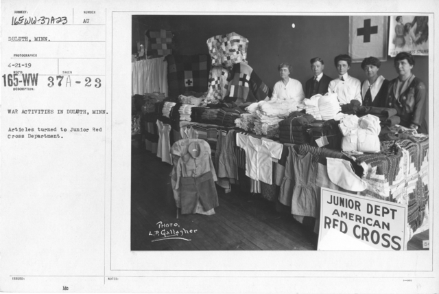 American Red Cross - Junior Red Cross - War Activities in Duluth, Minn. Articles turned to Junior Red Cross Department