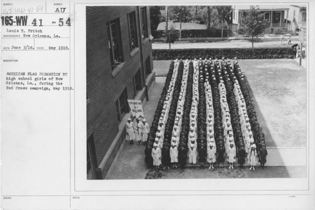American Red Cross - Miscellaneous - American Flag Formation by high school girls of New Orleans, LA., during the Red Cross campaign, May 1918