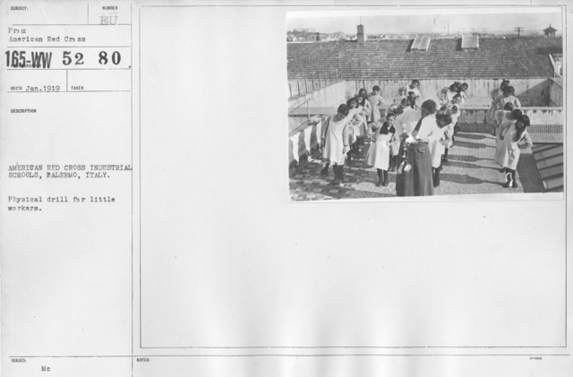 American Red Cross - Miscellaneous - American Red Cross Industrial Schools, Palermo, Italy. Physical drill for little workers