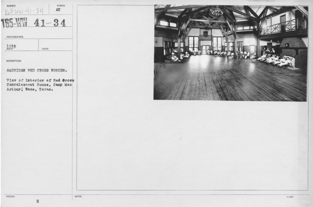 American Red Cross - Miscellaneous - American Red Cross Worker. View of interior of Red Cross Convalescent House. Camp MacArthur, Waco, Texas