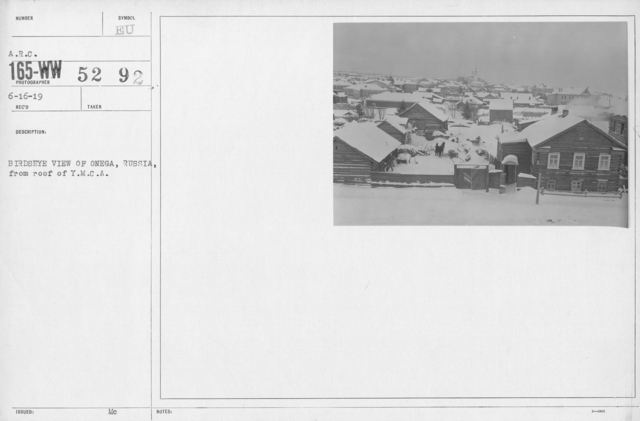 American Red Cross - Miscellaneous - Birdseye view of Onega, Russia, from roof of Y.M.C.A