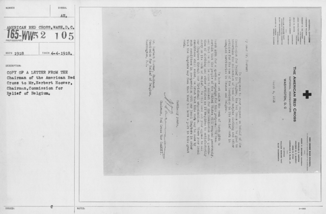 American Red Cross - Miscellaneous - Copy of a letter from the Chairman of the American Red Cross to Mr. Herbert Hoover, Chairman, Commission for Relief of Belgium