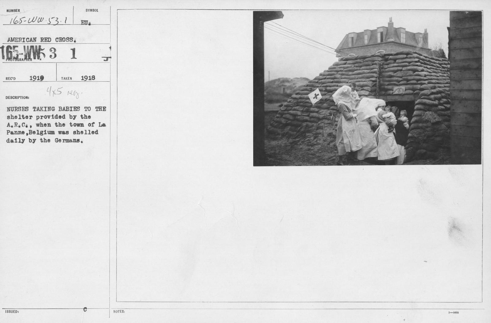 American Red Cross - Miscellaneous - Nurses taking babies to the shelter provided by the A.R.C. when the town of La Panne, Belgium as shelled daily by the Germans