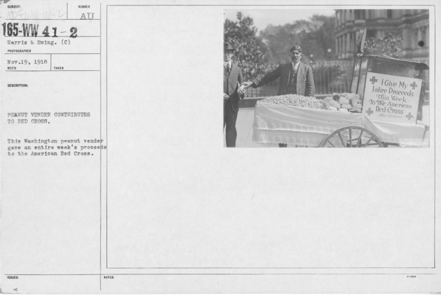 American Red Cross - Miscellaneous - Peanut vendor contributes to Red Cross. This Washington peanut vendor gave an entire week's proceedds to the American Red Cross
