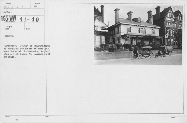 """American Red Cross - Miscellaneous - """"Stratford Lodge"""" in Headquarters of American Red Cross at American Base Hospital, Portsmouth, England. Also a club house for convalescent patients"""