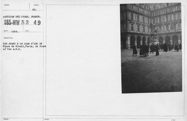 American Red Cross - Miscellaneous - The Statu E of Joan D'Arc in Place de Rivoli, Paris, in front of the A.R.C