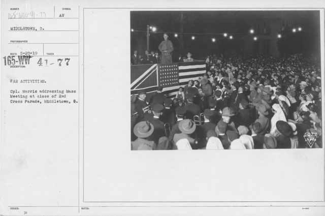 American Red Cross - Miscellaneous - War Activities. Cpl. Morris addressing mass meeting at close of Red Cross Parade, Middletown, O