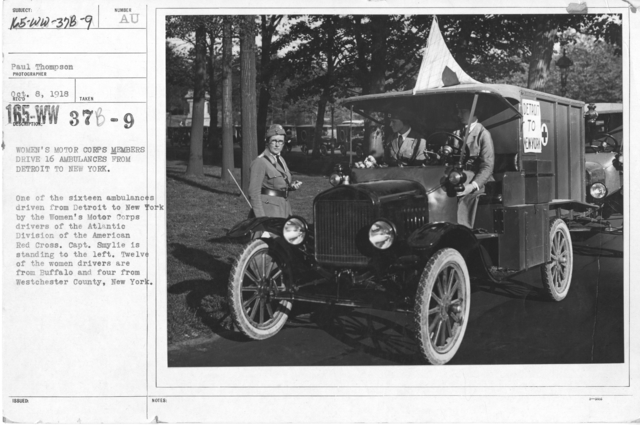 American Red Cross - Motor Car Service - Women's Motor Corps Members drive sixteen ambulances from Detroit to New York. One of the sixteen ambulances driven from Detroit to New York by the Women's Motor Corps drivers of the Atlantic Division of the American Red Cross. Capt. Smylie is standing to the left. Twelve of the women drivers are from Buffalo and four from Westchester County, New York