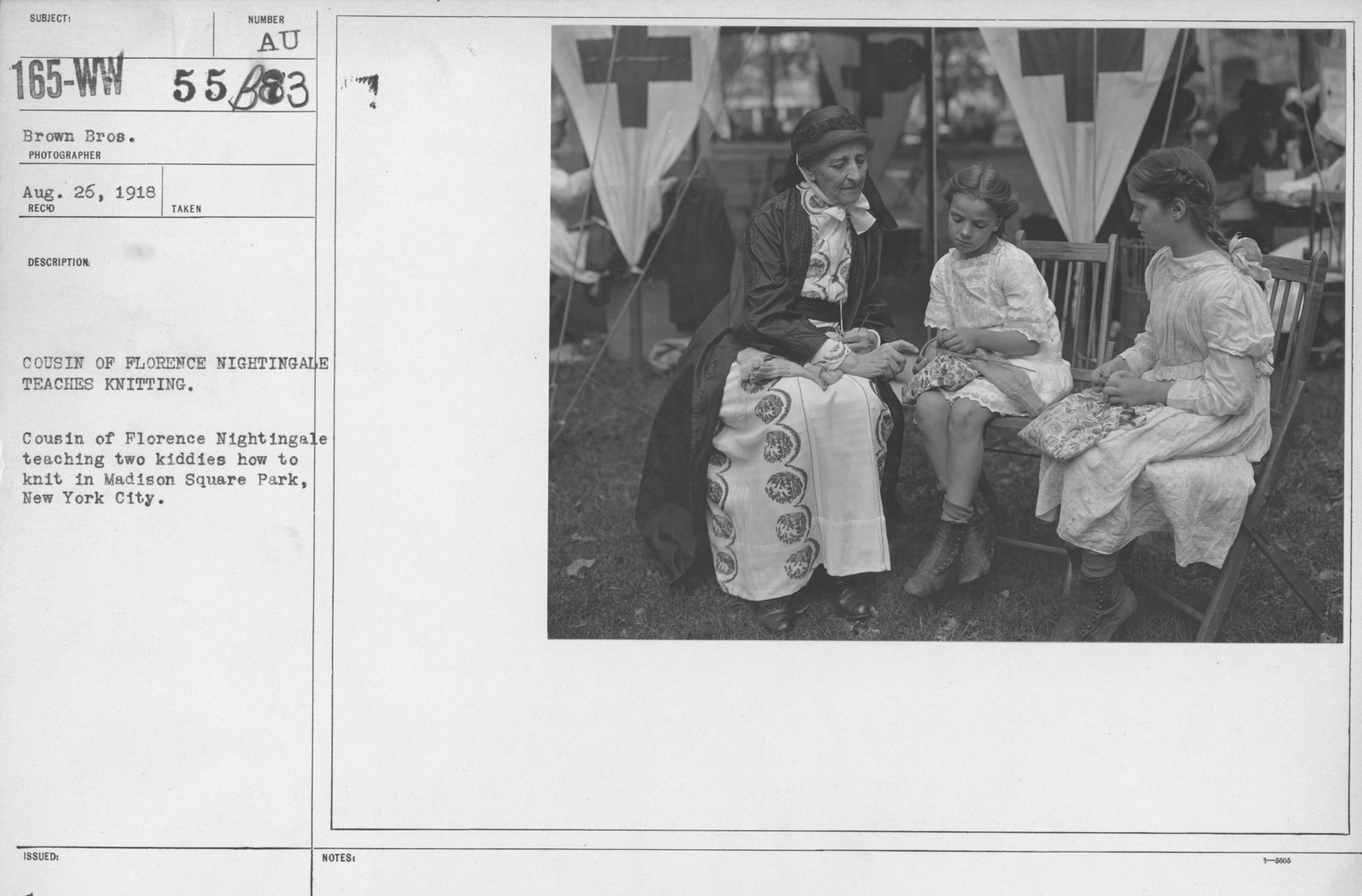 American Red Cross - N thru W - Cousin of Florence Nightingale teaches knitting. Cousin of Florence Nightingale teaching two kiddies how to knit in Madison Square Park, New York City