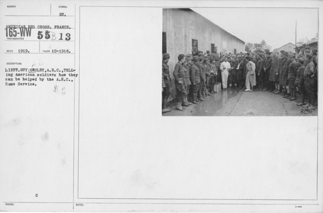 American Red Cross - N thru W - Lieut. Guy Owsley, A.R.C. telling American soldiers how they can be helped by the A.R.C. Home Service