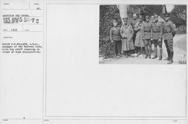 American Red Cross - N thru W - Major P.B. Wallace, A.R.C., manager of the Eastern Zone, with his staff standing in front of Zone headquarters