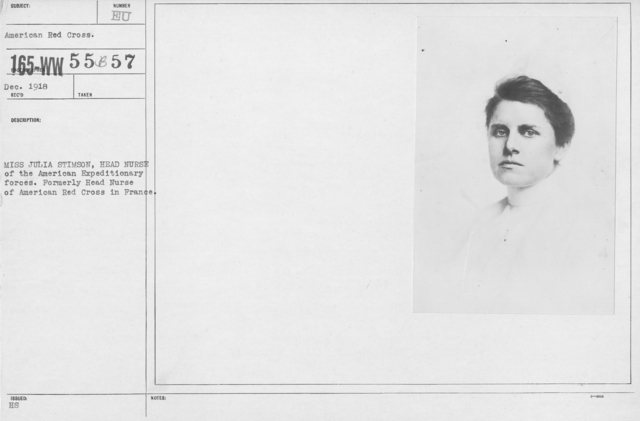 American Red Cross - N thru W - Miss Julia Stimson, Head Nurse of the American Expeditionary forces. Formerly Head Nurse of American Red Cross in France
