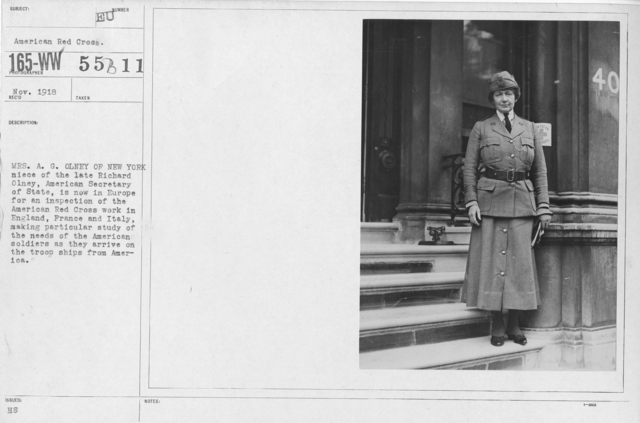 American Red Cross - N thru W - Mrs. A.G. Olney of New York neice of the late Richard Olney, American Secretary of State, is now in Europe for an inspection of the American Red Cross work in England, France and Italy, making particular study of the needs of the American soldiers as they arrive on the troop ships from America