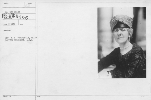 American Red Cross - N thru W - Mrs. W.K. Vanderbilt, Chief Canteen Personnel, A.R.C