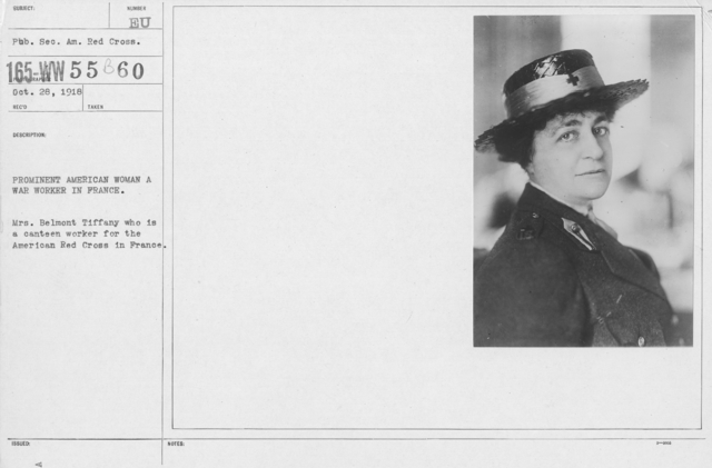 American Red Cross - N thru W - Prominent American woman, a war worker in France. Mrs. Belmont Tiffany who is a canteen worker for the American Red Cross in France