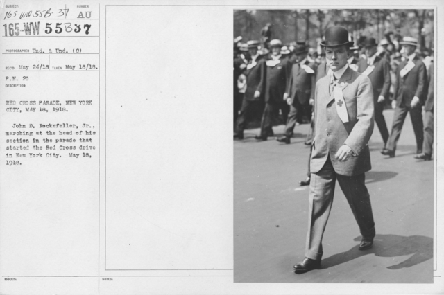 American Red Cross - N thru W - Red Cross Parade, New York City, May 18, 1918. John D. Rockefeller, Jr., marching at the head of his section in the parade that started the Red Cross drive in New York City
