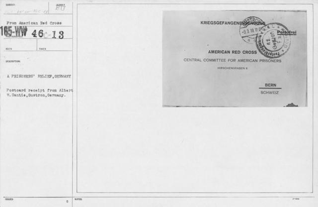 American Red Cross - Prisoners of War - A prisoners' relief, Germany. Postcard receipt from Albert W. Santie, Gustron, Germany