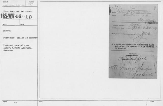 American Red Cross - Prisoners of War - Prisoners' relief in Germany. Postcard receipt from Albert W. Santie, Gustron, Germany