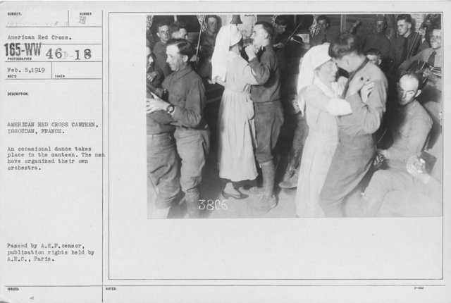 American Red Cross - Recreation and Sports - American Red Cross Canteen, Issoudan, France. An occasional dance takes place in the canteen. The men have organized their own orchestra