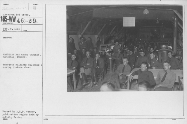 American Red Cross - Recreation and Sports - American Red Cross Canteen, Issoudan, France. American soldiers enjoying a moving picture show