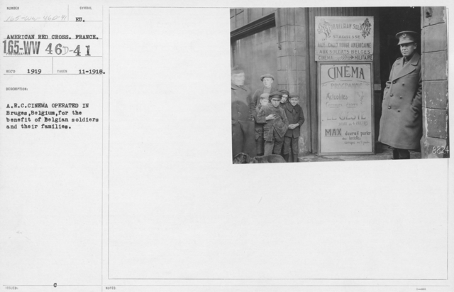 American Red Cross - Recreation and Sports - A.R.C. Cinema operated in Bruges, Belguim, for the benefit of Belgian soldiers and their families