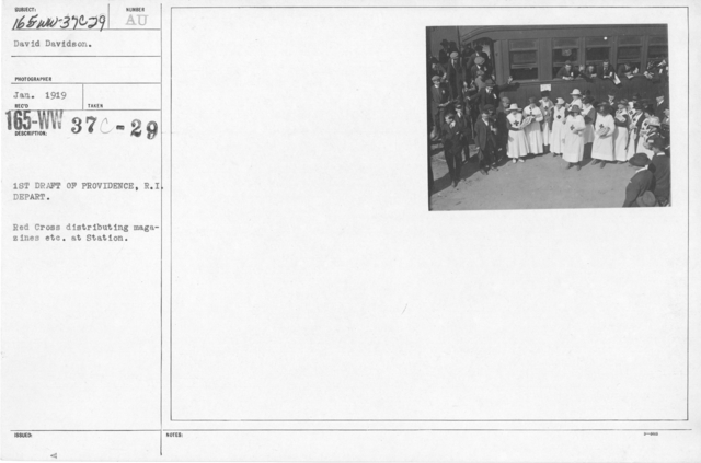 American Red Cross - Refreshments - 1st Draft of Providence, R.I. depart. Red Cross distributing magazines, etc. at Station