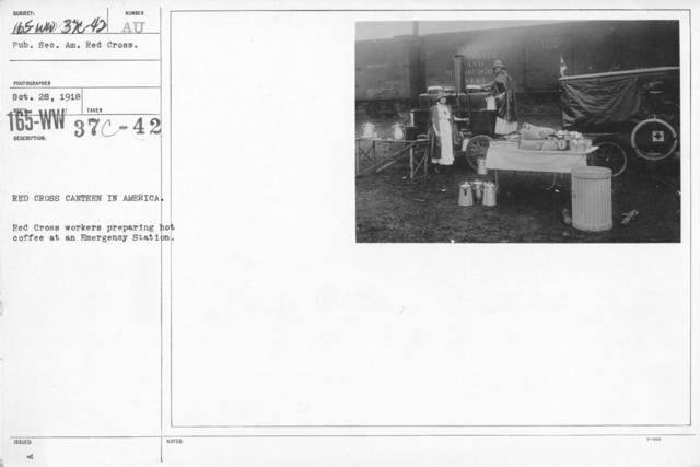 American Red Cross - Refreshments - Red Cross Canteen in America. Red Cross workers preparing hot coffee at an Emergency Station