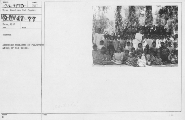 American Red Cross - Refugees - Armenian children in Palestine aided by Red Cross