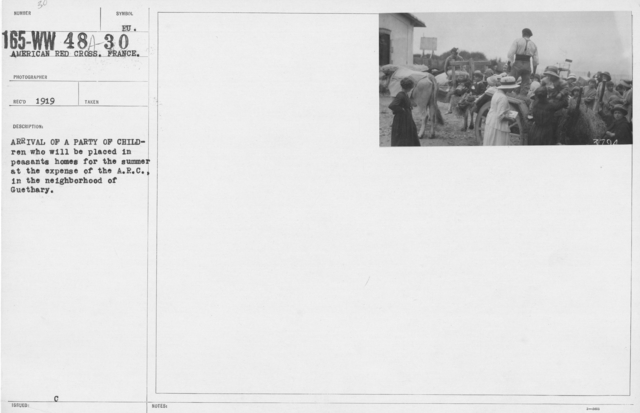 American Red Cross - Refugees - Arrival of a party of children who will be placed in peasants homes for the summer at the expense of the A.R.C., in the neighborhood of Guethary