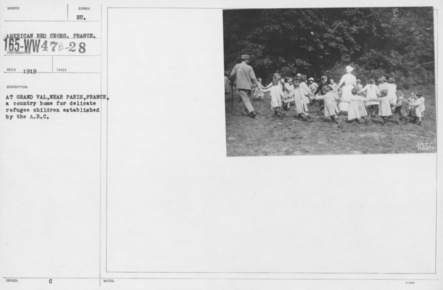 American Red Cross - Refugees - At Grand Val, near Paris, France, a country home for delicate refugee children established by the A.R.C