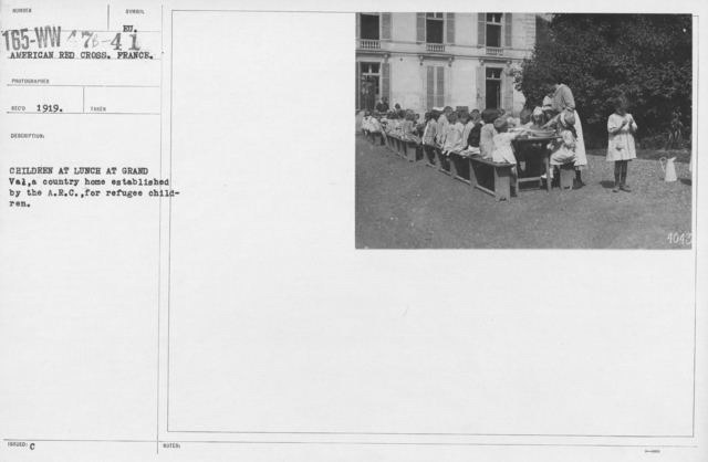 American Red Cross - Refugees - Children at lunch at Grand Val, a country home established by the A.R.C. for refugee children