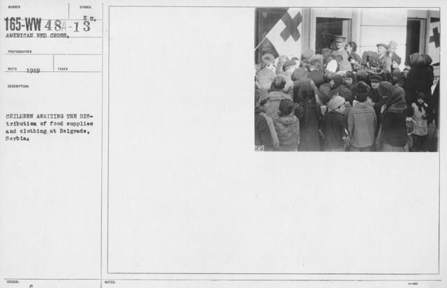 American Red Cross - Refugees - Children awaiting the distribution of food supplies and clothing at Belgrade, Serbia