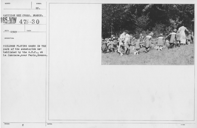 American Red Cross - Refugees - Children playing games in the park of the Sanatorium established by the A.R.C. at La Jonchere, near Paris, France
