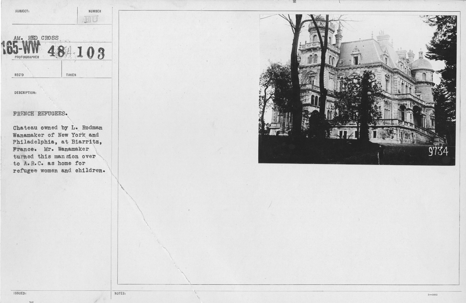 American Red Cross - Refugees - French refugees. Chateau owned by L. Rodman Wanamaker of New York and Philadelphia, at Biarritz, France. Mr. Wanamaker turned this mansion over to A.R.C. as home for refugee women and children