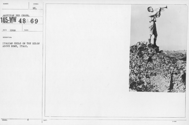 American Red Cross - Refugees - Italian child on the hills above Rome, Italy