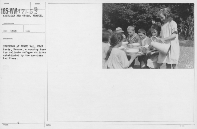 American Red Cross - Refugees - Luncheon at Grand Val, near Paris, France, a country home for delicate refugee children established by the American Red Cross