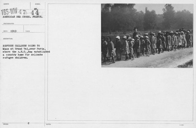 American Red Cross - Refugees - Refugee children going to Mass at Grand Val, near Paris, where the A.R.C. has established a country home for delicate refugee children