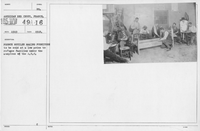 American Red Cross - Rehabilitation - French mutiles making furniture to be sold at a low price to refugee families under the auspices of the A.R.C