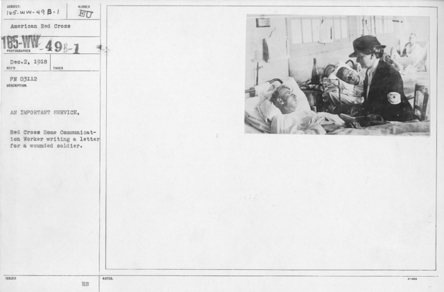 """American Red Cross - """"Second Aid"""" - An important service. Red Cross Home Communication worker writing a letter for a wounded soldier"""