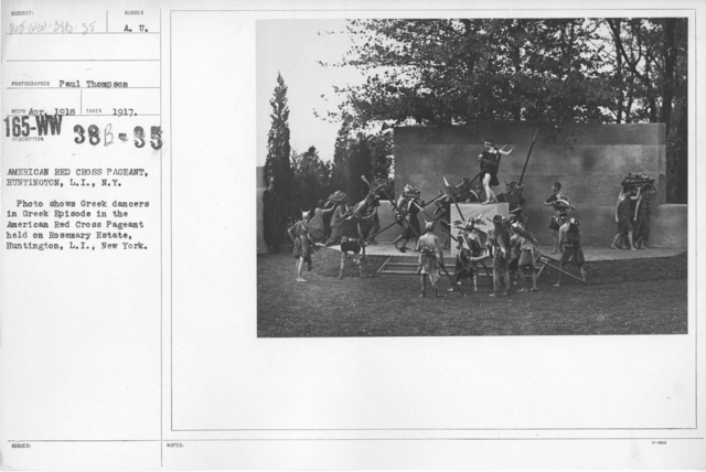 American Red Cross - Soliciting Funds - Entertainments - American Red Cross Pageant, Huntington, L.I., New York. Photo shows Greek dancers in Greek Episode in the American Red Cross Pageant held on Rosemary Estate, Huntington, L.I., New York