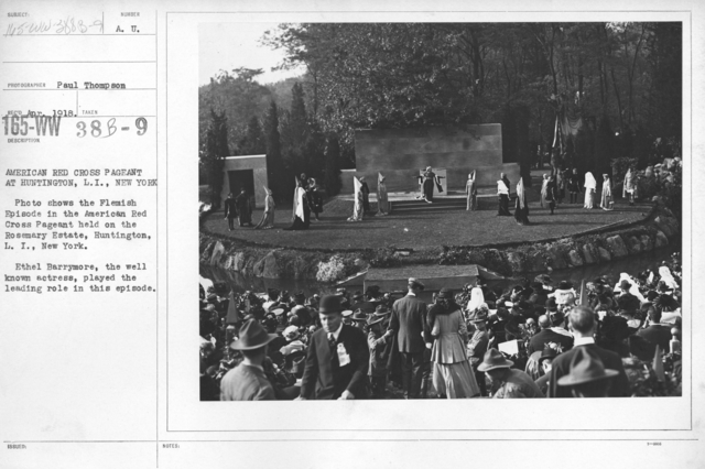 American Red Cross - Soliciting Funds - Entertainments - American Red Cross Pageant at Huntington, L.I., New York. Photo shows the Flemish Episode in the American Red Cross Pageant held on the Rosemary Estate, Huntington, L.I., New York. Ethel Barrymore, the well known actress, played the leading role in this episode