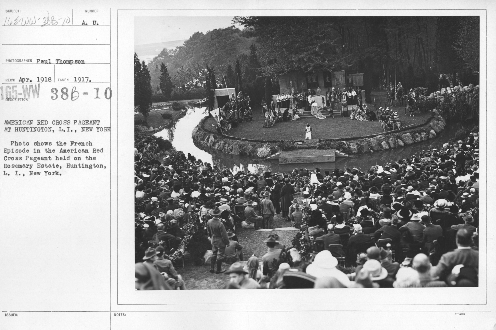 American Red Cross - Soliciting Funds - Entertainments - American Red Cross Pageant at Huntington, L.I., New York. Photo shows the French Episode in the American Red Cross Pageant held on the Rosemary Estate, Huntington, L.I., New York