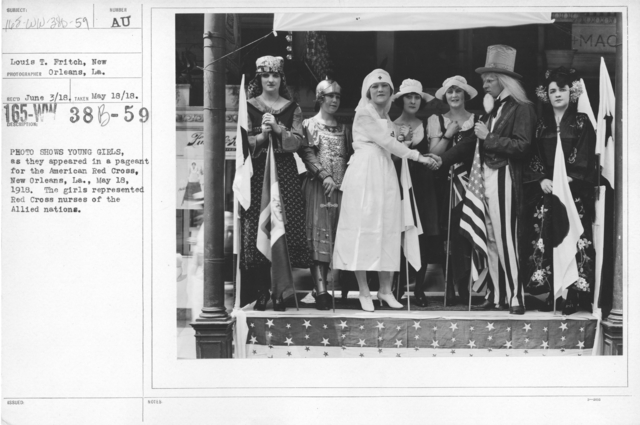 American Red Cross - Soliciting Funds - Entertainments - Photo shows young girls, as they appeared in a pageant for the American Red Cross, New Orleans, LA., May 18, 1918. The girls represented Red Cross nurses of the Allied Nations