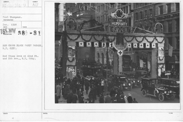 American Red Cross - Soliciting Funds - Entertainments - Red Cross Block Party Parade, N.Y. City. Red Cross Arch at 42nd St. and 5th Aven., N.Y. City