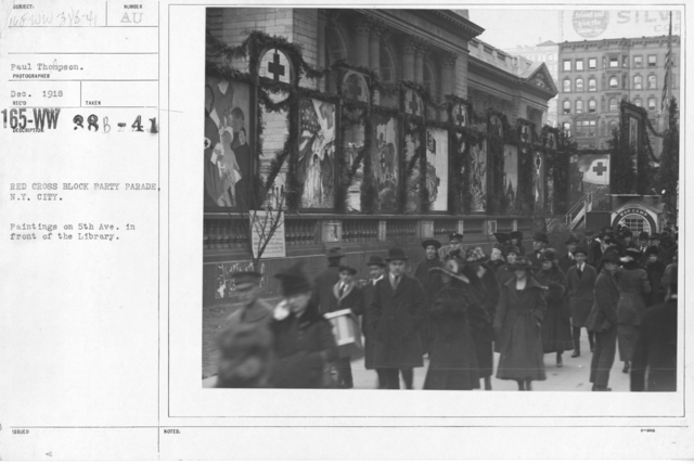 American Red Cross - Soliciting Funds - Entertainments - Red Cross block party parade, N.Y. City. Paintings on 5th Ave. in front of the Library